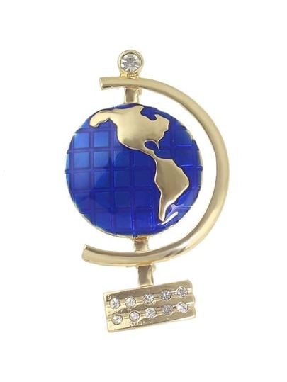 Enamel Plain Globe Shape Brooch For Women