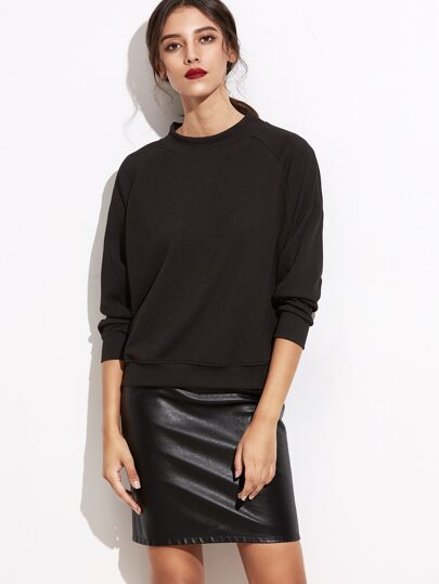 Black Raglan Sleeve Sweatshirt