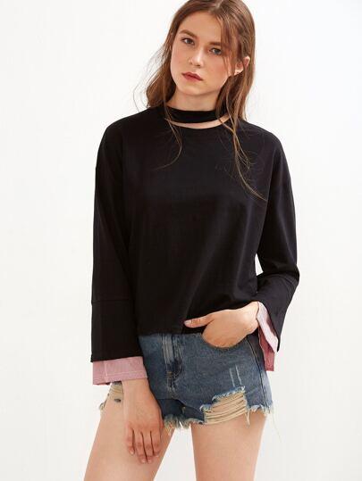 Black Cutout Neck Contrast Striped Cuff T-shirt