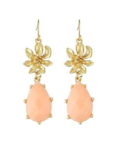 Pink Gemstone Flower Drop Earrings