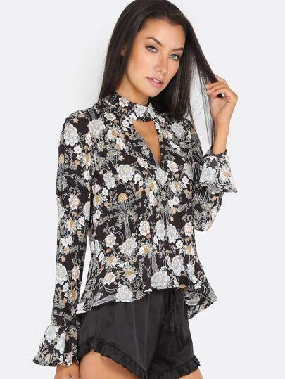 Floral Keyhole Ruffle Top BLACK