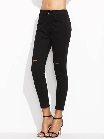 Black Ripped Raw Hem Pants