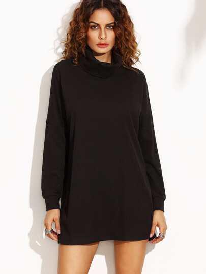 Vestido hombro drapeado - negro