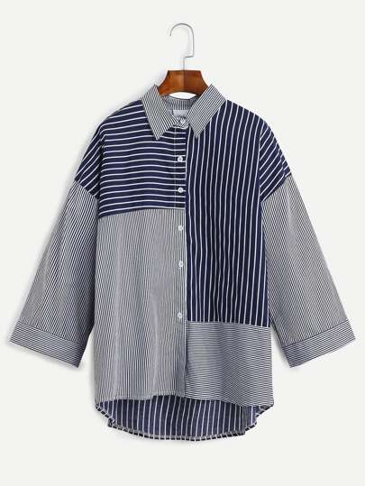Navy Striped Drop Shoulder Dip Hem Shirt