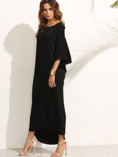 Black Cutout Back Long Dress
