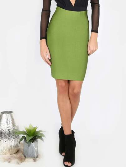 High Waisted Bodycon Midi Skirt LT OLIVE