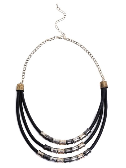 Black Fashion Pu Metal Necklace