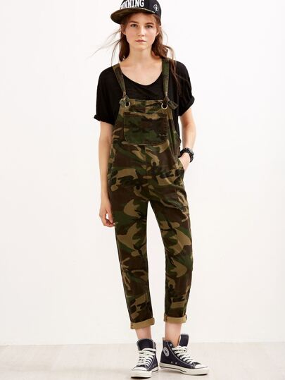Camo Print Metal Eyelet Pockets Denim Overall Pants