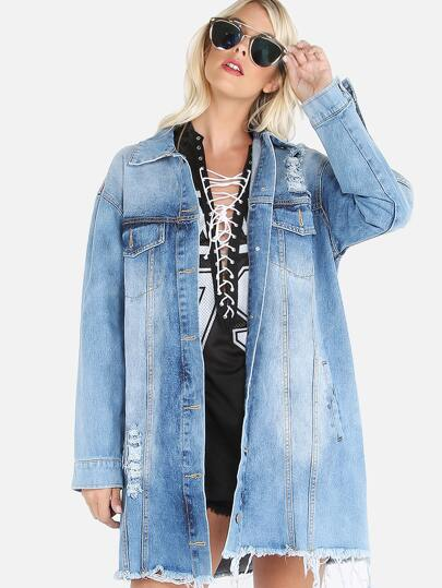 Oversized Distressed Denim Jacket DENIM