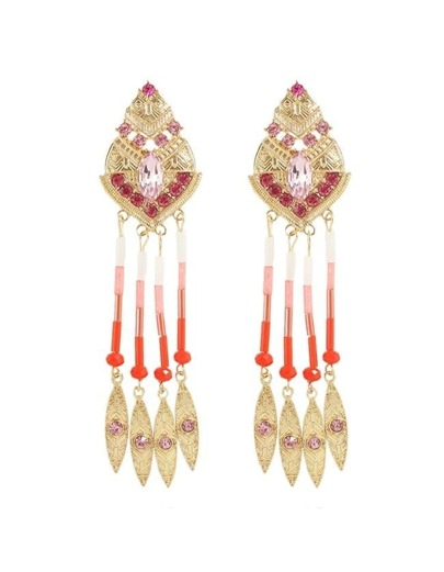 Pink Long Beads Leaf Earrings