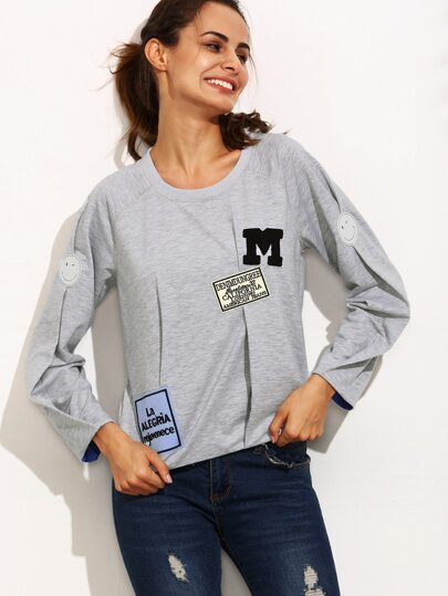 Grey Patchwork Round Neck Long Sleeve Sweatshirt