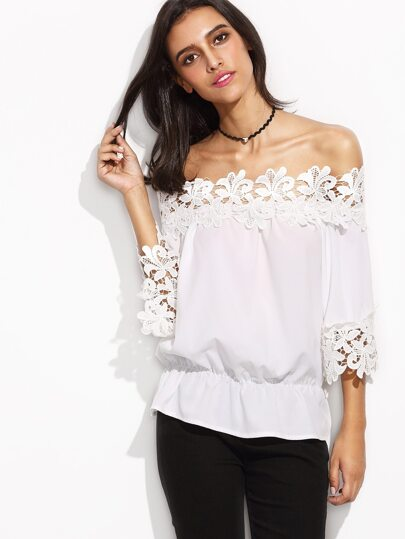 White Off The Shoulder Crochet Trim Peplum Top