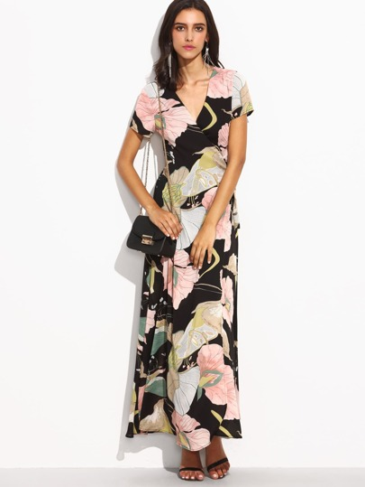 Flower Print V Neck Self Tie Waist Wrap Dress