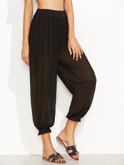Pantalons en mousseline taille élastique - noir