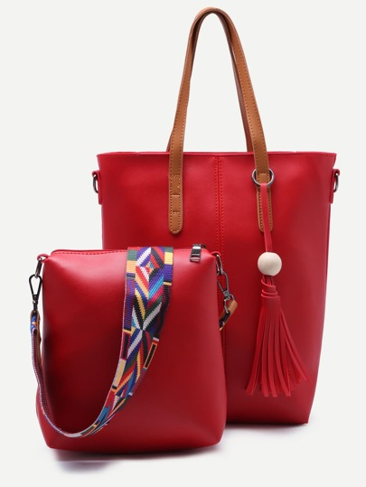 Red Tassel Tote Bag With Wide Strap Crossbody Bag