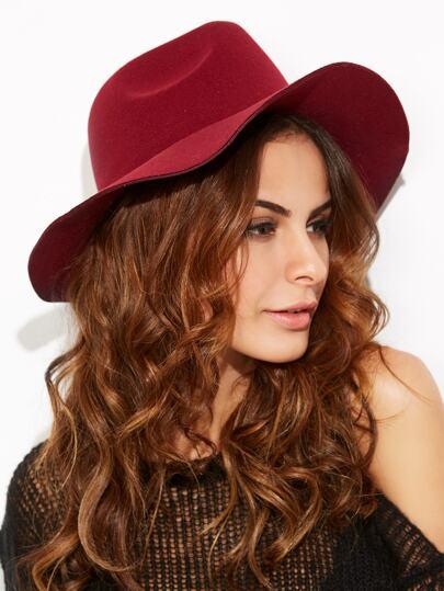 Burgandy Vintage Large Brimmed Hat