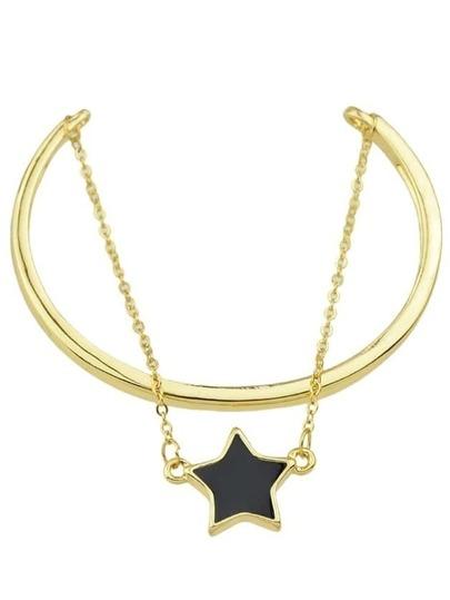 Gold Enamel Star Layers Chain Bracelet