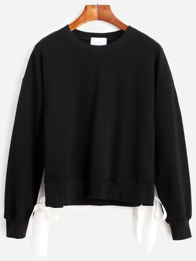 Black Drop Shoulder Eyelet Tie Side Sweatshirt