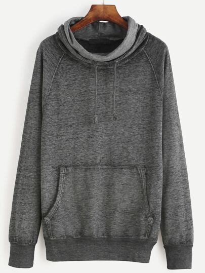 Grey Drawstring Cowl Neck Sweatshirt With Pocket