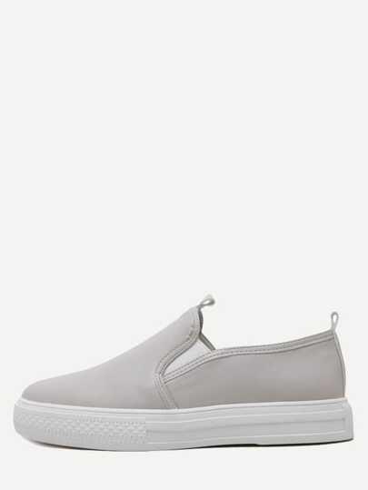 Chaussures élastique en cuir PU - abricot
