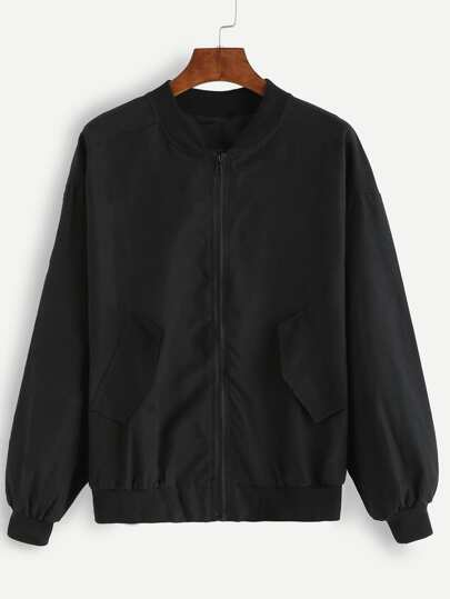 Black Pockets Zipper Bomber Jacket