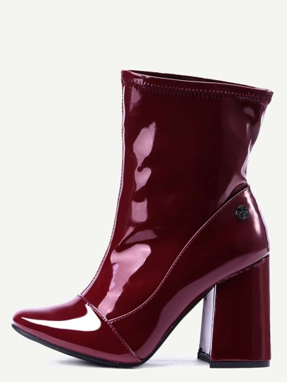 Burgundy Patent Leather Point Toe High Heel Boots