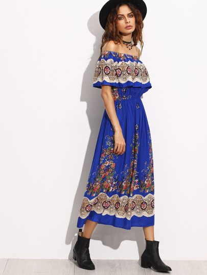 Blue Floral Print Ruffle Off The Shoulder Blouson Dress