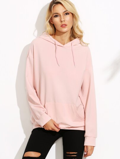 Pink Drop Shoulder Hooded Sweatshirt With Pocket