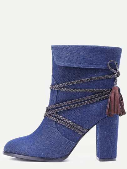 Blue Braided Strap Detail Fold Over Boots