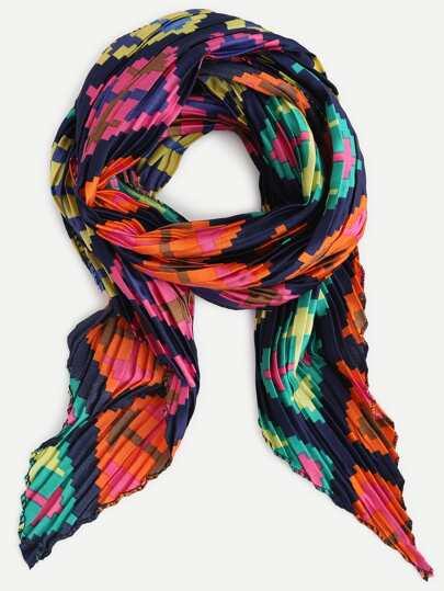 Multicolor Folding Print Satin Scarf