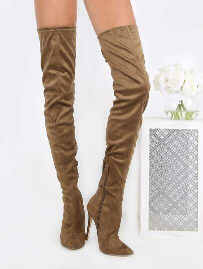 Suede Pointy Toe Thigh High Boots OLIVE
