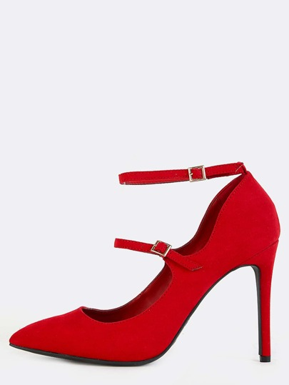 Pointed Toe Strappy High Heels RED