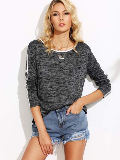 Grey Marled Knit Contrast Binding T-shirt