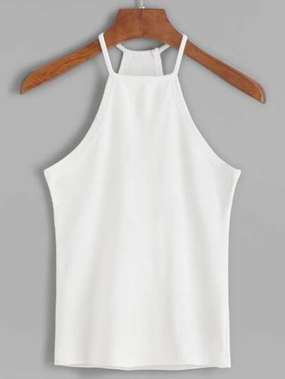 White Halter Ribbed Cami Top