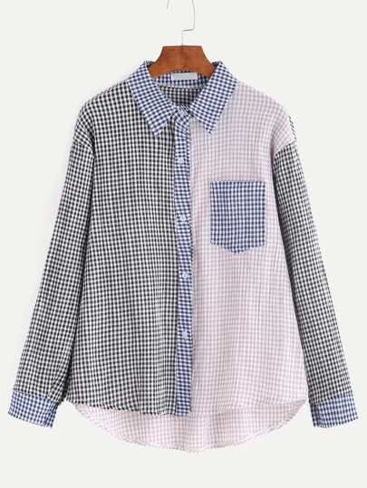 Color Block Plaid Dip Hem Shirt