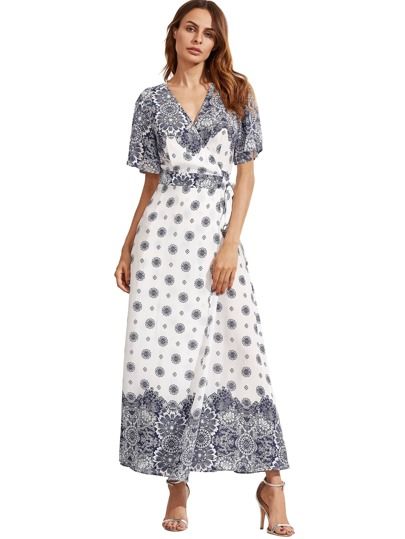 White Print V Neck Half Sleeve Split Dress