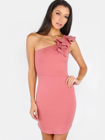 Scoop Hem One Shoulder Dress BLUSH