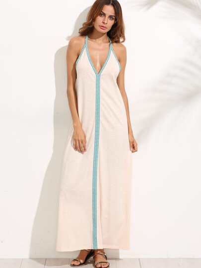 Apricot V Neck Halter Contrast Trim Maxi Dress