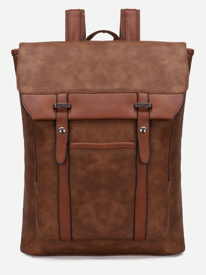 Brown Flap Buckle PU Backpack