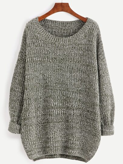 Olive Green Marled Knit Cocoon Sweater