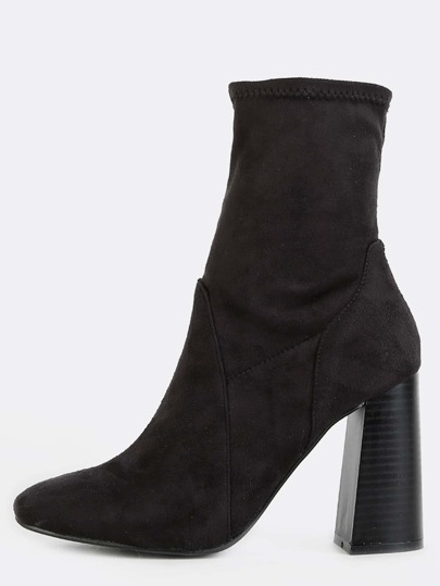 Flared Stack Heel Suede Booties BLACK
