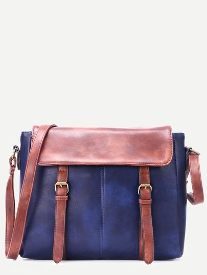 Blue Faux Leather Satchel Bag
