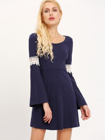 Navy Scoop Neck Contrast Crochet Ribbed Dress