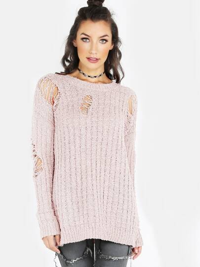 Distressed Knitted Pullover Sweater PINK