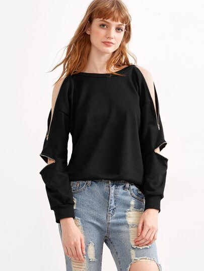 Black Zipper Detail Sweatshirt