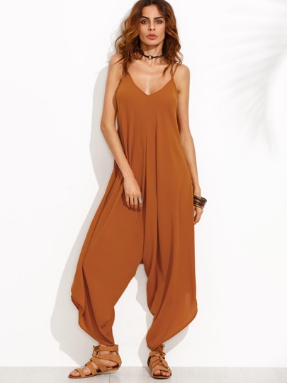 Brown Spaghetti Strap Criss Cross Back Jumpsuit