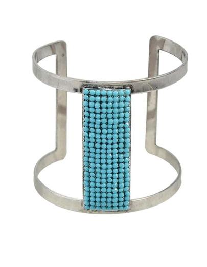 Blue Beads Cuff Bangle