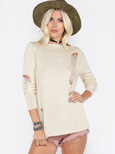 Apricot Boat Neck Scoop Back Ripped Sweater