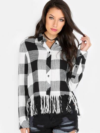 Frayed Plaid Button Up BLACK