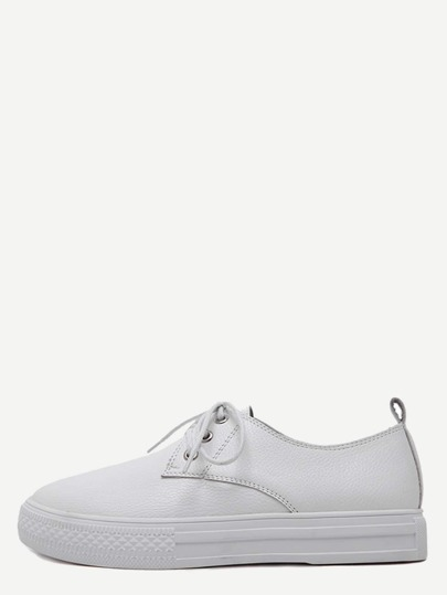 White Round Toe Pebbled Lace Up Sneakers